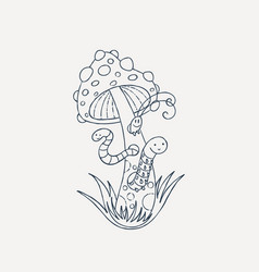 worms and bugs in a long muscaria vector image