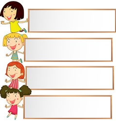 Banner design with four kids vector image