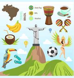 brazil travel famous brazilian sightseeing vector image