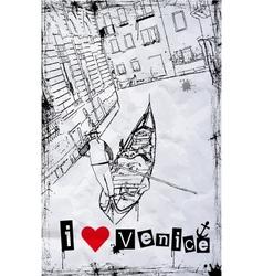 I love Venice vector image