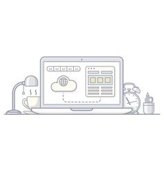Laptop wireframe style vector image vector image