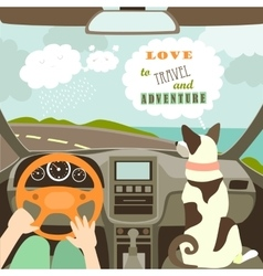 Owner having a car trip with their dog vector image