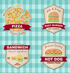 Set of vintage fast food badges banners and logo vector image