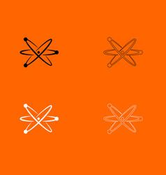 Atom black and white set icon vector