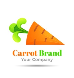 Carrot with green rabbit ears colorful 3d volume vector