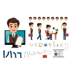 character creation set young business man with vector image vector image