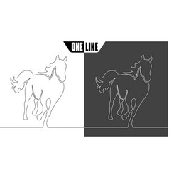 horse icon on white and black vector image vector image