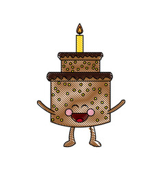 Kawaii cake candle birthday party celebration vector
