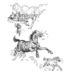 loki turns into a pony vintage vector image