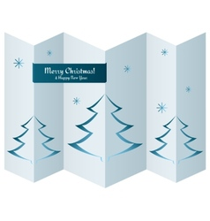 Merry Christmas card with trees on paper texture vector image