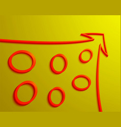 Red arrow with rings inside on a yellow background vector