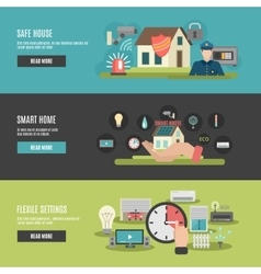 Smart home 3 flat interactive banners vector image vector image