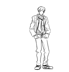 Stylish guy in jacket and jeans with scarf vector image vector image