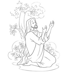 agony in the garden coloring page vector image vector image
