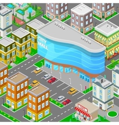 Isometric City Mall Modern Shopping Center vector image vector image