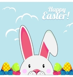 Template for Easter greeting card with cute white vector image