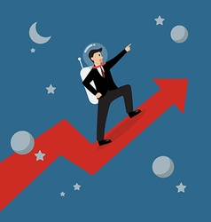 Businessman astronaut standing on a growing graph vector image vector image