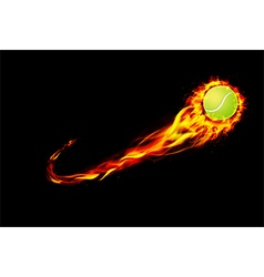 Fire burning tennis with background black vector image vector image