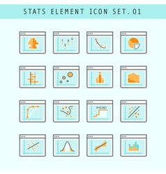 Line Flat Icons Statistic Elements Set 01 vector image vector image