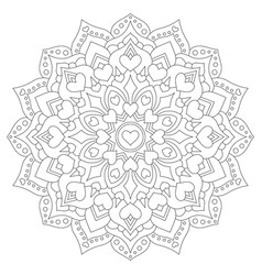 mandala with hearts for coloring circular pattern vector image