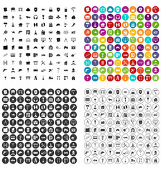 100 construction icons set variant vector image