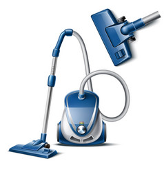 3d vacuum cleaner with hose and nozzle vector image