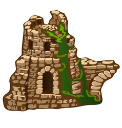 Abandoned ruins of an old stone house vector