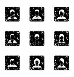 Avatar icons set grunge style vector image