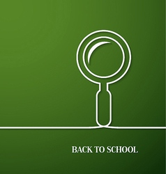 Back to school card with paper magnifying glass vector