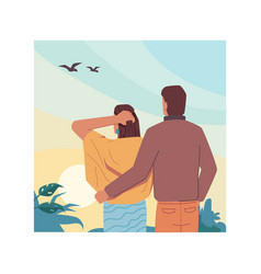 back view hugging couple looking sky landscape vector image