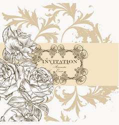beautiful invitation greeting card with flowers vector image