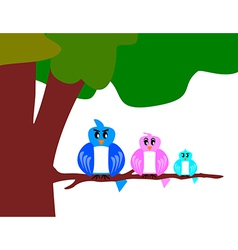bird family with tree vector image