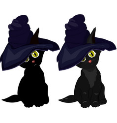 black cat in witch hat on white background vector image