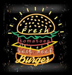 Bright cover for fast food menu hamburger vector image