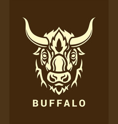 Buffalo head silhouette on shield emblem vector