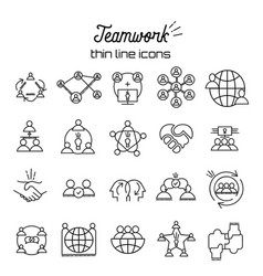 Business teamwork icon set in thin line style team vector