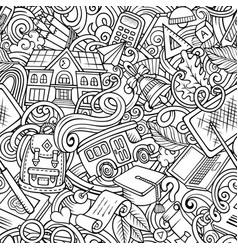 cartoon cute doodles hand drawn school seamless vector image
