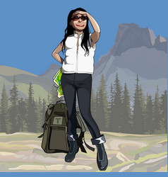 Cartoon female hiker with backpack looking vector