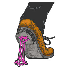Chewing bubble gum stuck to shoe sketch vector