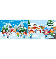 Children playing with snow vector