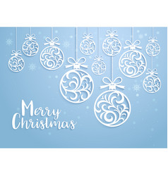 christmas balls background paper cut style vector image