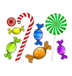 christmas candy set colorful wrapped sweet vector image