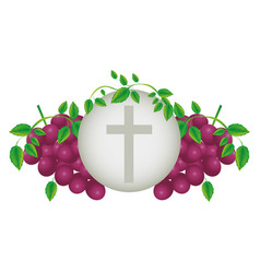 color background with communion religious icons of vector image