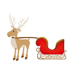 Colorful silhouette of reindeer with sleigh vector
