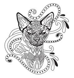 Coloring antistress cat 7 vector