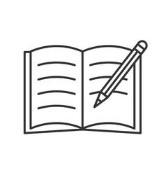 Copybook with pencil linear icon vector