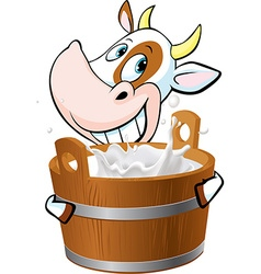 Cow holding a pail full of milk vector image