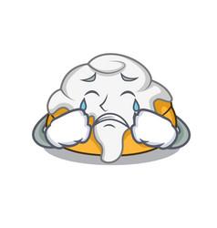 Crying cinnamon roll mascot cartoon vector