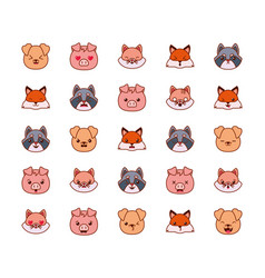 Cute kawaii animals cartoons line and fill style vector