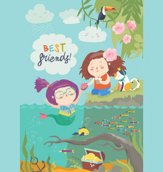cute mermaid and girl are best friends vector image